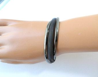 Black Mesh Cuff Bracelet Asymmetrical Bangle Gunmetal Gray Offset Black Vintage Cuff Bangle Bracelet Jewelry
