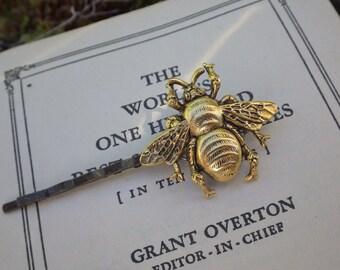 Bumble Bee Bobby Pin ~ Antiqued Gold ~ Royal ~ Honey Bee ~ Medium Size ~ by LadyofTheLakeJewels