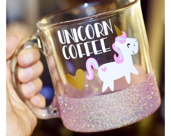 Unicorn Coffee Glitter Mug - Glass Glitter Mug - Funny Unicorn Mug - Unicorn - Unicorn Mug - Pink Mug