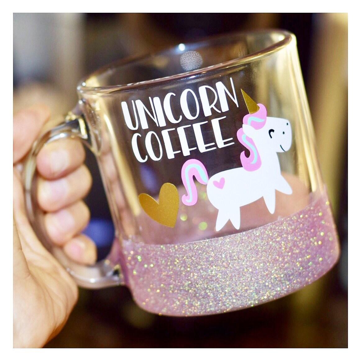unicorn coffee glitter mug glass glitter mug funny. Black Bedroom Furniture Sets. Home Design Ideas