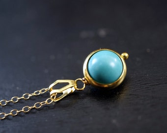 Gold Turquoise Necklace - Tiny Gold Necklace - Gold Turquoise Choker - Simple Turquoise Jewelry