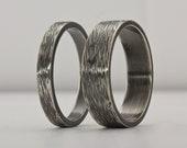 Passende Ring, Ring gehämmert, Versprechen oxidiertem Sterlingsilber, strukturierter Ring, Baum Rinde Ring, Eheringe, Ring, einzigartige Trauringe