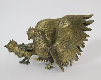 Mid Century Brass Chicken Figurines Statues Roosters Japan Asian Styled