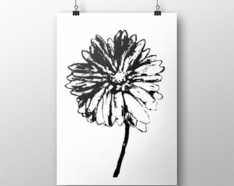 Black and White Gerbera Daisy Giclee Print, Gerber Daisy, Black and White Art Print