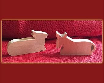Donkey and cow Nativity figures