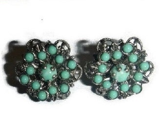 Art Deco Turquoise & Silver Leaf Filigree Earrings 30s 40s Vintage Aqua Wedding Bridal Something Blue Vintage Jewelry Gift for Her