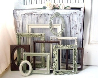 Sage Green Cream and Brown Frame Set  Vintage Frames  MADE to ORDER Cottage Chic Set of 10 Frames  Ornate Frames  Light Green Frame Set