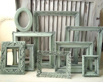 Mint Green Vintage Frames, Set of 9 Sea Glass Green Ornate Frames, French Cottage Green Frames, Cottage Chic, MADE to ORDER