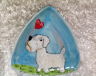 Hand Painted Dog Dish / Ceramic Dog Plate / Custom Dog bowl / Sealyham Terrier / Dog Pottery / Debby Carman / Faux Paw Productions