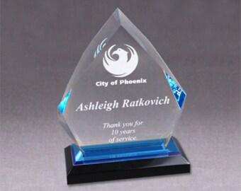 "5""x8"" Blue Acrylic Diamond Impress Award"