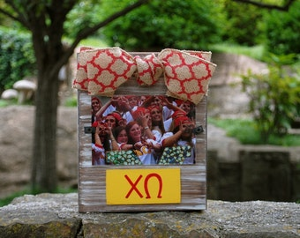 Chi Omega Whitewashed Rustic Frame With Greek Letters