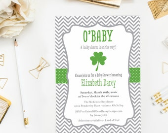 St. Patrick's Day Shamrock Baby Shower Invitation, O'Baby Luck o' the Irish Invite, Lucky Charm, Clovers, Little Leprechaun, 4 leaf clover
