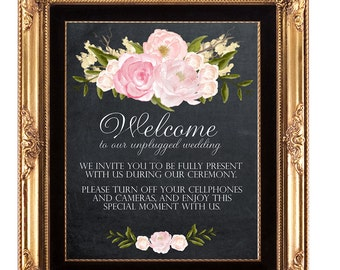 unplugged wedding sign, printable unplugged wedding sign, chalkboard wedding sign, floral wedding sign, chalkboard unplugged sign, 11x14