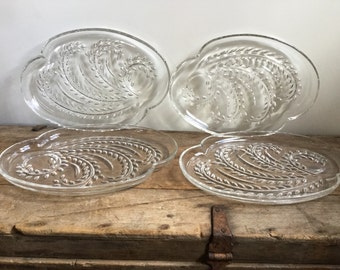 Clear Hospitality Snack Set Federal Luncheon Wheat Pattern Plates