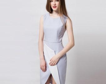 Work dress/ Modern dress/ asymmetrical dress/ Wrap dress/ elegant dress/ Custom made dress/ Geometric dress/ Petite/ Plus size