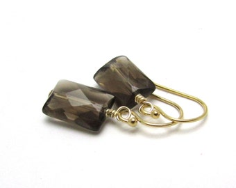 Smokey quartz earrings, rectangle earrings, geometric dangle earrings, smoky quartz earrings, minimal modern jewelry, gray gemstone earrings