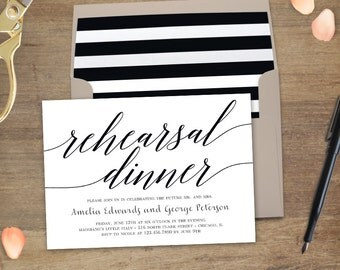 Printable Rehearsal Dinner Invitation - MODERN SCRIPT - with Bonus Printable Envelope Liner