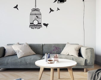 Elegant Bird Cage With Birds Vinyl Wall Art