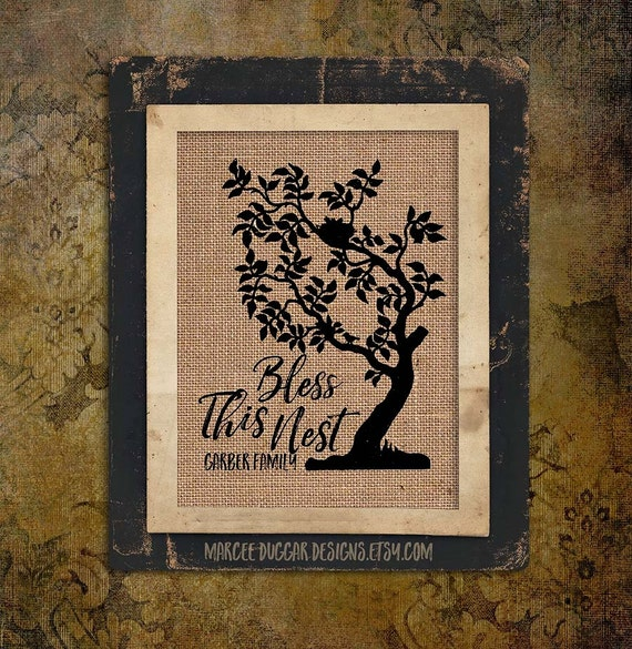 Bless This Nest | Personalized | Family Tree | Burlap Gift | Family Name | 8x10 | #0138