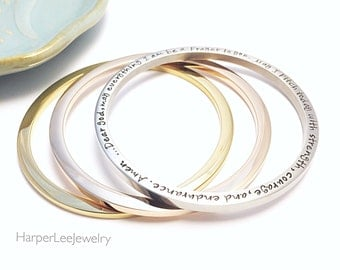 Custom Flat Stainless Steel Bangle ~ Personalized ~ Bracelet ~ Stacking Bangle ~ Gift for Her ~ Rose Gold ~ Pink Gold