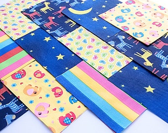 "30 x Midnight Rainbow 5"" Fabric Patchwork Squares Pieces Charm Pack"