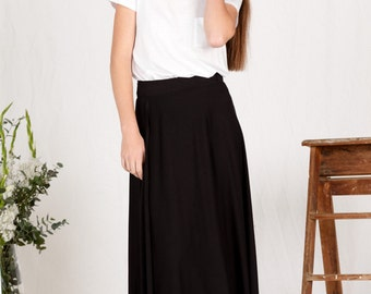 Organic Cotton Maxi Wrap Skirt - Black