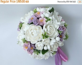 25% OFF Clay wedding bouquet and boutonniere set, Bridal bouquet, White tuberoses and Violet freesias , Natural look bouquet