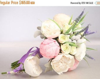 25% OFF READY-TO-Ship. Clay wedding bouquet and boutonniere set, Bridal bouquet, Peonies, Roses, Lavender, Brunia