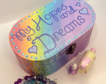 Wooden Box/ Rainbow/ Crystal Box/Jewellery Box/ Storage/ Intentions Box/ Tarot Deck Box/My Hopes And Dreams Quote / Hand Painted