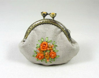 Floral coin purse, Embroidered coin purse, Hand embroidery, linen frame purse, For her, beige and orange change purse