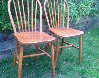 SOLD Two vintage spindle kitchen chairs