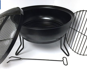 Made in USA - Heavy Gauge Steel Fire Bowl with Fire Screen, Grate + Fire Poker