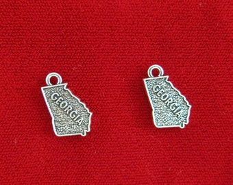"""5pc """"Georgia"""" charms in antique silver (BC877)"""