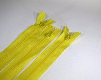 BULK! 10pc zipper 30cm / 12 inch yellow closed end (Z74B)