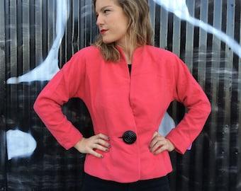 1980's Pink Blazer/ Vintage Ann Klein/ 1980s Ann Klein Blazer/ Hot Pink Blazer/ Size Small/ Medium