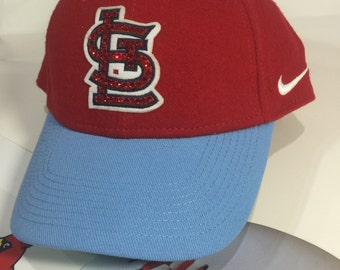 St Louis Cardinal Red and Blue Crystal Hat