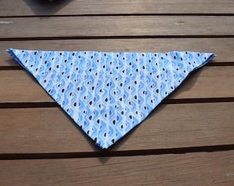 Handmade Blue Wave Slip-on-Bandana, Dog Bandana, Bandana, Dog Fashion, Dog Accessories, Slip-on-Dog Bandana, Dog Gift, Blue Dog Bandana