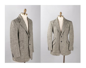 Wool Herringbone Ralph Lauren Purple Label Jacket 1990s Vintage // Size Small Medium