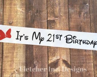 Minnie Disney Inspired It's My Birthday Party Sash, Birthday Girl, Bow