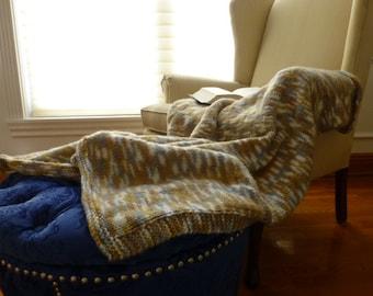 Tan/Grey/White Stockinette Lap Blanket