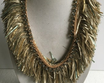 Fringed beaded bib couture  necklace