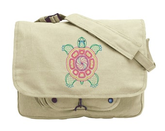 Sunny Turtle (Vintage) Embroidered Canvas Messenger Bag