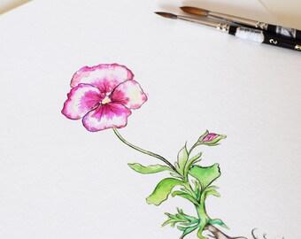 Custom ORIGINAL Floral Watercolour Painting // unique gift - pansy, flower, mum, artwork