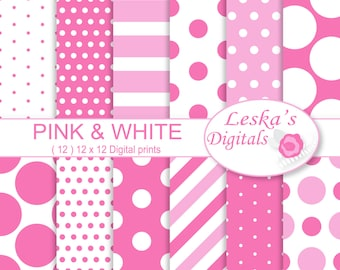 PINK DIGITAL BACKGROUND, pink and white digital paper polka dots and stripes, pink digital paper instant download commercial use ok