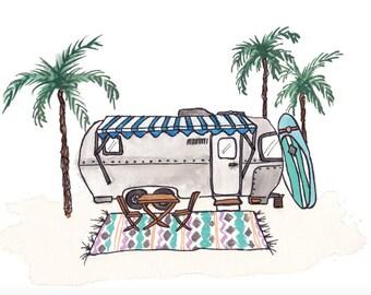 Cali Trailer Greeting Card Blank w/ Airstream, Surf Board, Palm Trees