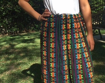 Maxi skirt, embroidered skirt, Mexican skirt, black, orange, blue, medium, large