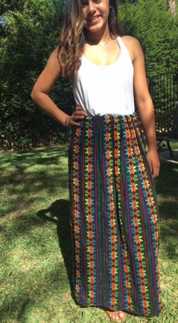 maxi skirt embroidered skirt mexican skirt black orange