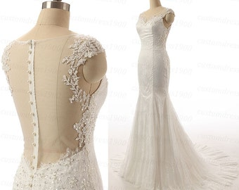 Amazing beading/crystal organza wedding dress,white/ivory lace mermaid wedding dresses,handmade lace sweetheart bridal dress