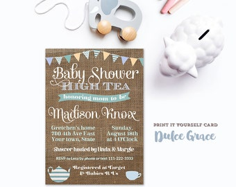 baby shower high tea invitations, PRINTABLE, baby boy shower tea party invite, burlap pennant baby boy shower invitation, DIY PRINTABLE