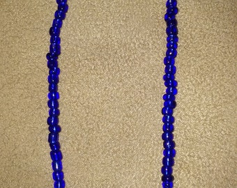 Dark blue seed bead necklace